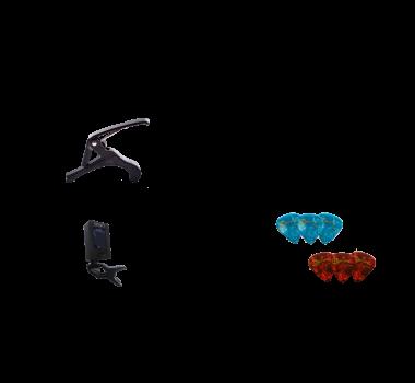 Kit Acessorios P/ Instrumentos De Cordas Kit C/3 Itens - Afinador + Capo + 6 Palhetas