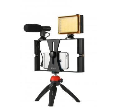 Kit Estabilizador Youtuber Celular Vlog Microfone Luz tripÉ Mesa