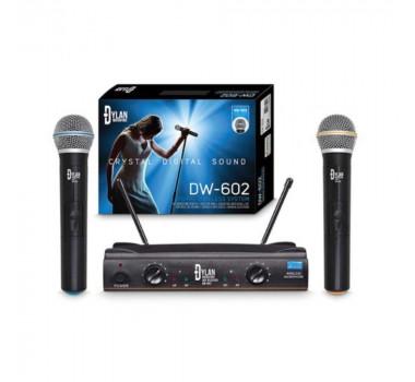 Microfone Sem Fio Duplo Dylan Dw602 Uhf C/2 Bastoes